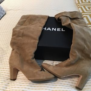 Chanel suede fold over boots